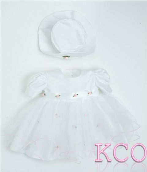 Baby Flower Dress White/pink ~ Girls Dress
